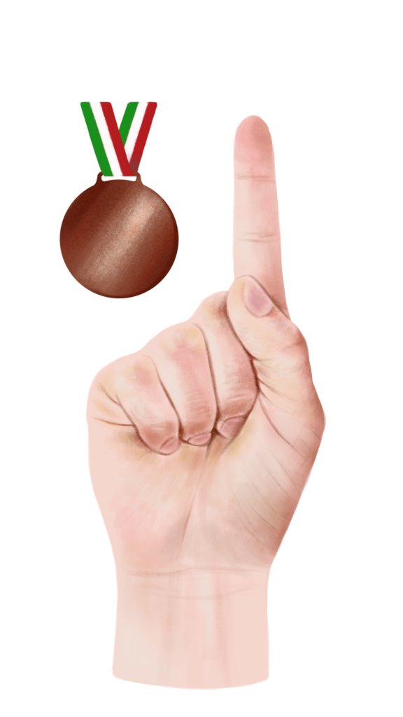 hand with medal (bronze)